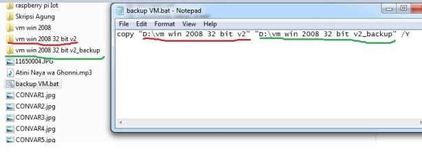 .bat untuk copy folder VM ware