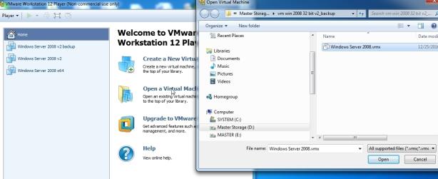open vm yang sudah di copy backup