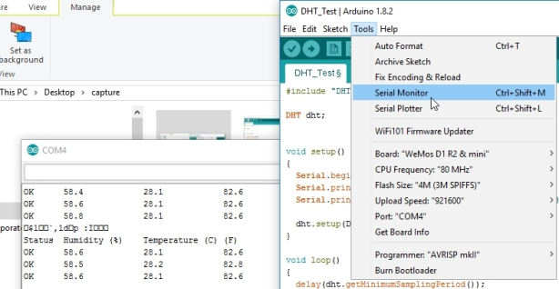 serial monitor data