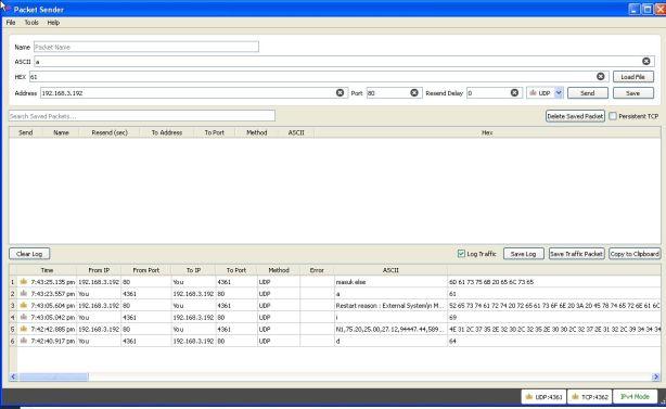 Percobaan kirim data UDP