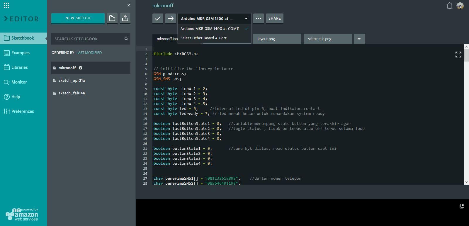 interface arduino web editor